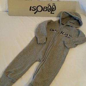 Oshkosh Zip Up Outfit 24 Months Grey with Hood